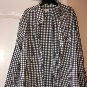 Gray and white men's plaid button down shirt